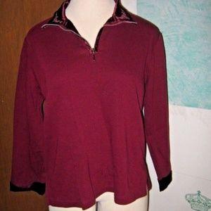 Burgundy Satin V Neck & Cuffs Zip Neck Sweater L